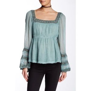 Free People Moonchaser Lace Trim Blouse Crochet